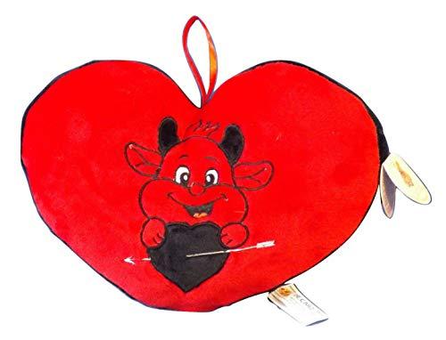 DE. CAR Cuore Cuscino Peluche con diavoletto Amoroso- Idea Regalo San Valentino