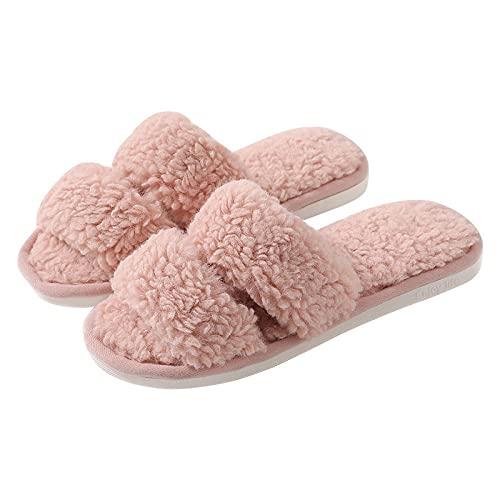 DHYF Zapatillas de Invierno para Interior y Exterior,Zapatillas de algodón cálidas de Moda, Zapatillas de Felpa Antideslizantes.-Rosado_38-39,Pantuflas cálidas Pantuflas Ligeras y Suaves
