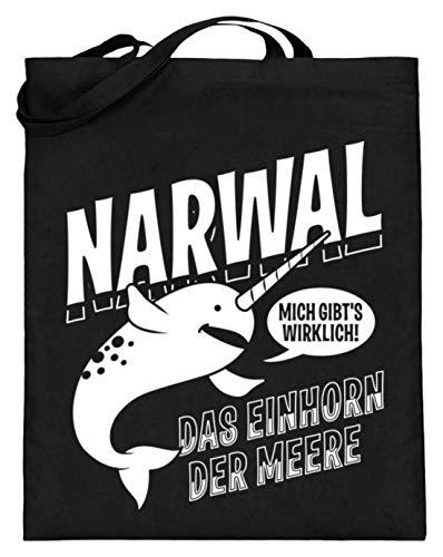 Narwal Das Einhorn der Meere - Jutebeutel (mit langen Henkeln) -38cm-42cm-Schwarz