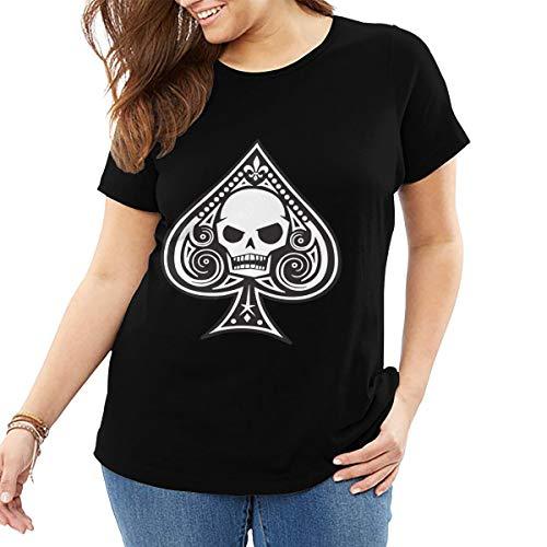 John J Littlejohn Ace of Spades T-Shirt mit Totenkopf-Motiv, aus Baumwolle, Freizeit-Shirt, Übergröße