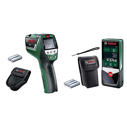 Bosch Infrarot Thermometer PTD 1 (2x AA Batterien, in Schutztasche) & Digitaler Laser Entfernungsmesser PLR 50 C (mit App Funktion, 50 Meter Messweite, im Karton)