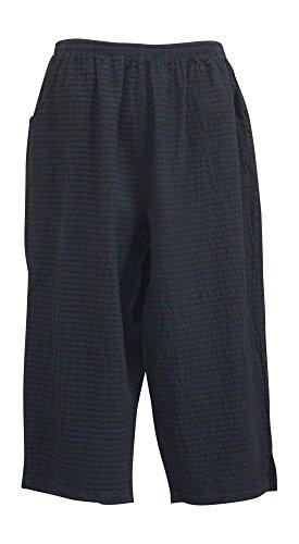 Ezze Wear Women's Mirage Cotton Black Crop Pant Plus Size (2X, Black)