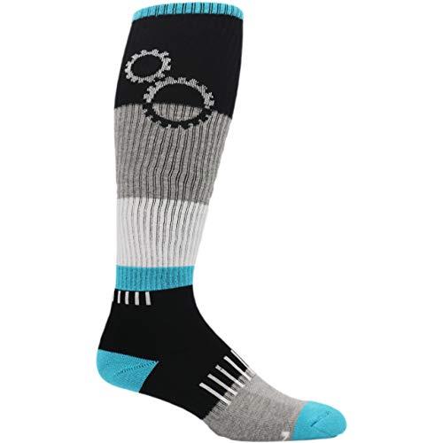MOXY Socks Black and Blue ShiftGear Striped Knee-High Fitness Socks