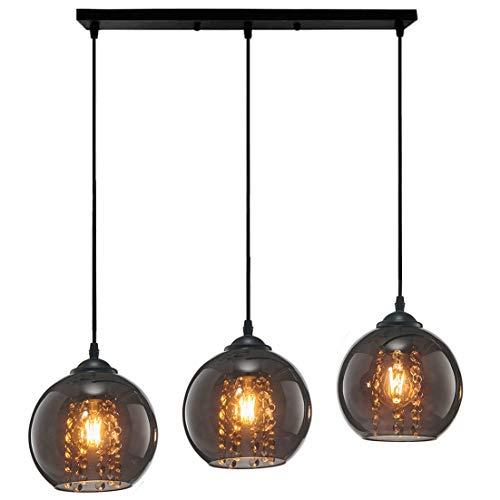 Modern K9 Kristall Pendelleuchte Esstischleuchte Retro Glas Kugelleuchte Lampenschirm Design Anhänger Lüster Hängeleuchte Innen Dekorativ Decke Lampe Beleuchtung Pendellampe Esszimmer Kugel Lampe
