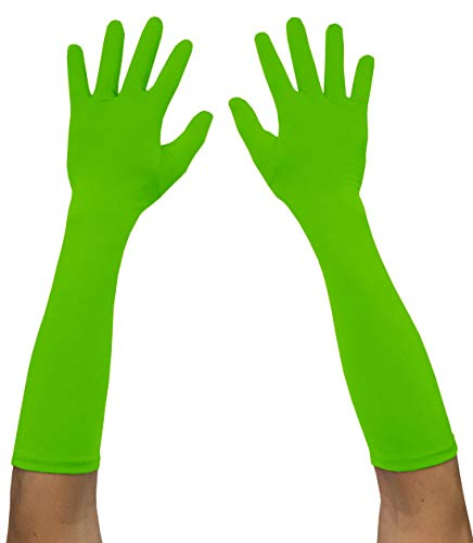 Seeksmile Adult Spandex Elbow Length Costume Gloves (Free Size, Lime Green)