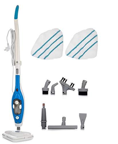 Aqua Laser Gold | Dampfreiniger Steam Mop Deluxe | Stehender Dampf Mop für versiegelte Hartböden | Bodenreinigung mit waschbarem Microfaser-Pad (blau)