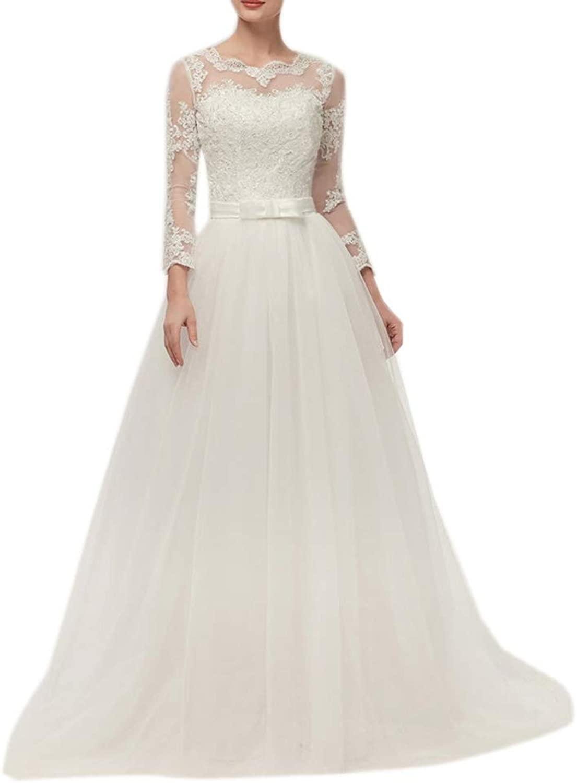 CiONE Elegant Lace Wedding Dress Long Sleeves Bridal Gown for Women