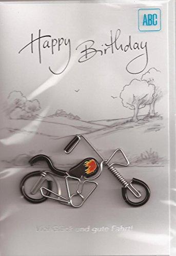 Geburtstagskarte Klappkarte Zum Geburtstag - Motorradfahrer - Viel Glück und gute Fahrt! - G003
