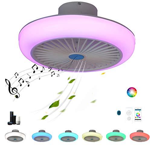 LED Lampara Ventilador Techo con Luz y Mando a Distancia APP Silencioso RGB Alexa Altavoz Bluetooth Regulable Inspire colores Música Smart Ventilador Plafon Iluminación Luces Dormitorio Sala Comedor