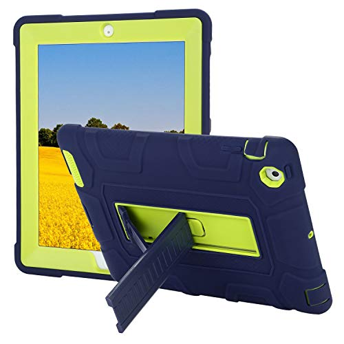 TKOOFN iPad 2/3/4 Case, Heavy Duty Shockproof Rugged Hybrid Protective Case Cover with Build in Kickstand for iPad 2/3/4, Dark Blue + Lime