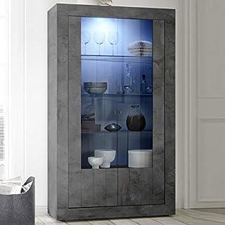 vaisselier gris oscuro moderno 110x 190cm 2puertas Urban moderno Sans éclairage gris