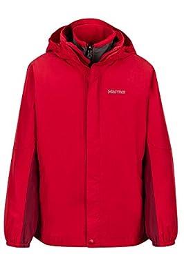 Marmot Boys' Northshore Waterproof Hooded Rain Jacket with Removable Fleece Liner, Team Red/Brick, Large