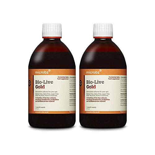 Microbz (Twin Pack) Bio-Live Gold (475ml) Bio Cultures Probiotic Liquid Supplement - Multi Strain Fermented Liquid Formula with Bio Live Active Natural Cultures for Everyday Oral Use