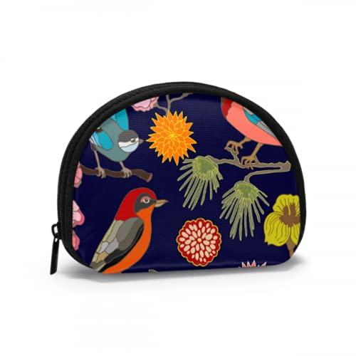 Unique Coin Purse Kawaii Japanese Garden Flowers and Birds Small Coin Purse For Girls Zip Coin Purse For Girls with Zipper Mini Cosmetic Makeup Bags For Women Girls Party Gifts and Decorations