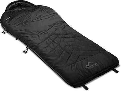 Premium Biwack-Schlafsack wasserdicht mit EXTRA Arm- und Beinöffnungen und Wärmekragen- 3D High Insulation Loft H4-300 bis Minus 9°C Grad Farbe Schwarz