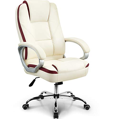 Neo Chair Office Chair Computer Desk Chair Gaming - Ergonomic High Back Cushion Lumbar Support with Wheels Comfortable White Leather Racing Seat Adjustable Swivel Rolling Home Executive chair gaming white