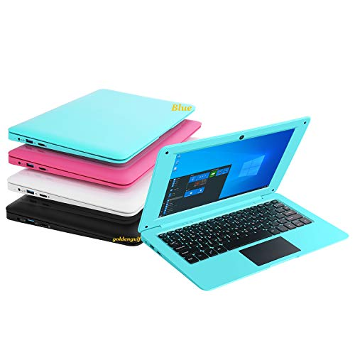 Goldengulf Windows 10 Computer Laptop Mini 10.1 Inch 32GB Ultra Thin and Light Netbook Intel Quad Core CPU PC HDMI WiFi USB Netflix YouTube (Blue)