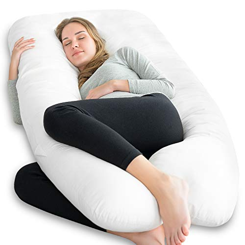 NiDream Bedding Premium U Shape Pregnancy Pillow - Maternity Pillow - for Side Sleeping - for Growing Tummy Support - with 100% Cotton Zipper Removable Cover(White)