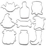 Janka - Set di 9 formine per biscotti di Halloween, motivo: pipistrello, fantasma, scarpe da strega, caramelle, gufo, bottiglia velenosa, barattolo, tazza di zucca e calderone, in acciaio inox