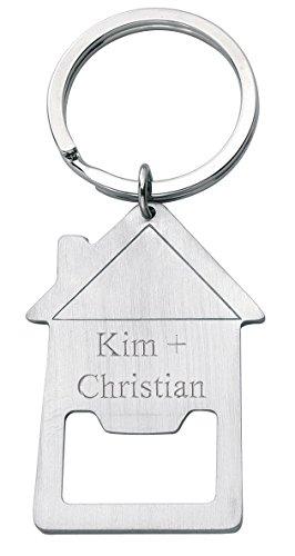 Schlüsselanhänger mit Flaschenöffner Haus und Gravur - Geburtstagsgeschenk - Geschenk für Frau & Mann (Gravur: Druckschrift)