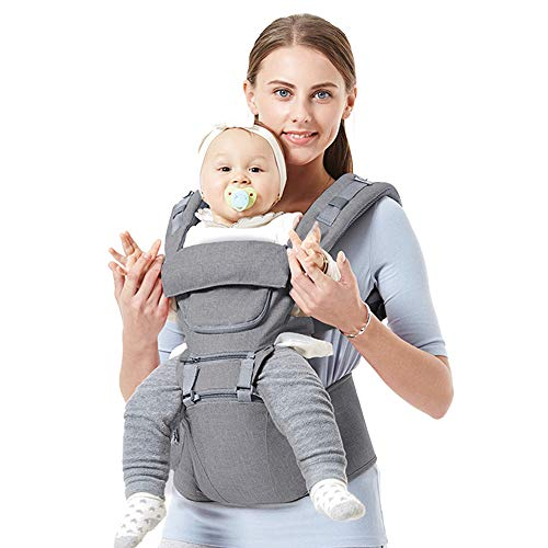 Baby Backpack Carriers Front and Back for Newborn to Toddler with Hip Seat, Feemom Forward Facing Baby Kangaroo Carrier for Men Grey