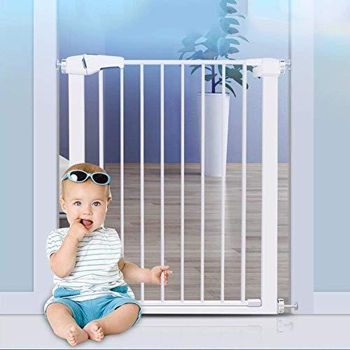 KTDT Puertas de Seguridad para Interiores Puerta Alta de Metal para Mascotas para Gatos Puerta de bebé Blanca Ajustable y Protector de Pared de Patio de Juegos para Puertas de escaleras de 75-169