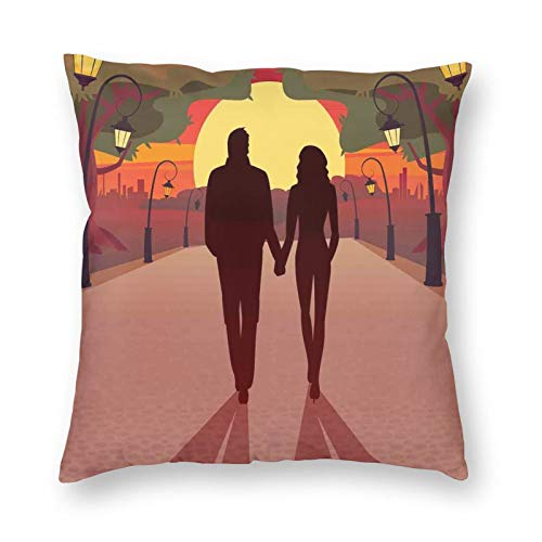 Decorative Cushion Covers with Romance Theme Loving Couple Holding Hands and Walking Through The Calming Sunset,for Sofa Office Decor Cotton and Linen Cushion Covers 16*16Inch