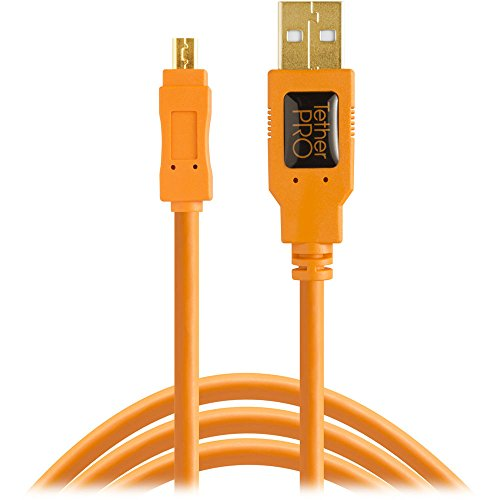 Tether Tools TetherPro USB 2.0 to Mini-B 8-Pin Cable, 15' (4.6m), High-Visibility Orange