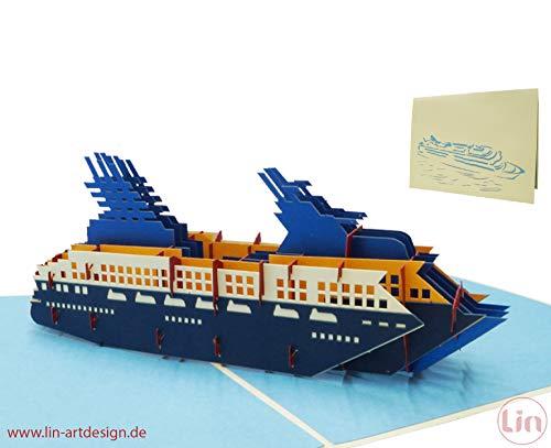 LIN17564, Pop Up Karte Schiff, Kreuzfahrtschiff, Pop Up Karten Geburtstag, Pop Up Geburtstagskarte, Reisegutschein Kreuzfahrt, Kreuzfahrt Schiff, N315