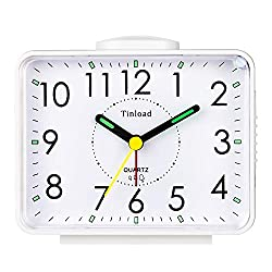 Tinload 4 Silent Analog Alarm Clock Non Ticking,Snooze,Nightlight,Battery Operated,Easy Set (White Crescendo Bell)