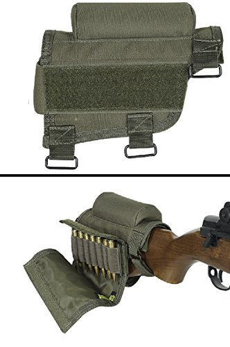 Ultimate Arms Gear Rifle Ammo Round Shot Shell Cartridge Stock Buttstock Cheek Rest Carrier Case Holder Fits .308 300 Winmag .30-06 .3006 .30 06 Models, OD Olive Drab Green