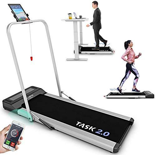 Bluefin Fitness Task 2.0 2-in-1 Laufband, Klappbar | Zuhause Fitness Studio Büro Laufband | 8 Km/h | Gelenkschutz Technologie | Smartphone App | Bluetooth Lautsprecher | Kompakte GEH- / Laufmaschine