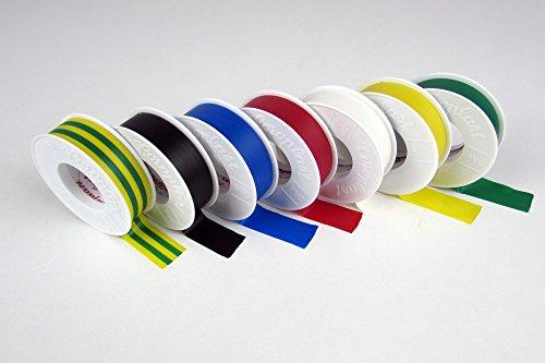 1 Komplett-Set Original Coroplast Elektroisolierband 302 bestehend aus je 1 Rolle in gelb, blau, weiß, grün, rot, gelb-grün, schwarz