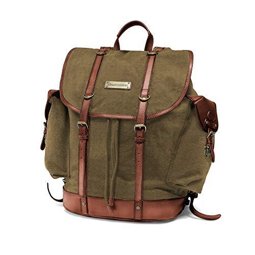 DRAKENSBERG Backpack - Zaino da alpinista e cacciatore retrò in stile retrò vintage, scomparto per laptop da 13', realizzato a mano in qualità premium, 30L, tela e pelle, verde oliva, DR00127