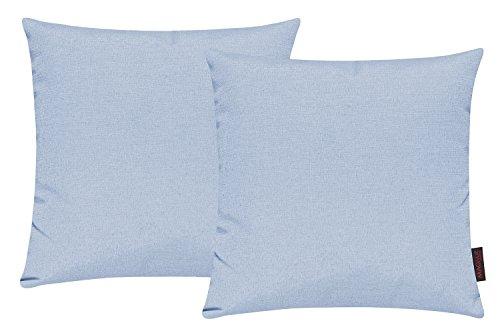 Fino Kissenhülle ca. 40 x 40 cm hochwertig & knitterarm in vielen bunten Farben 025 himmelblau (2er Set)