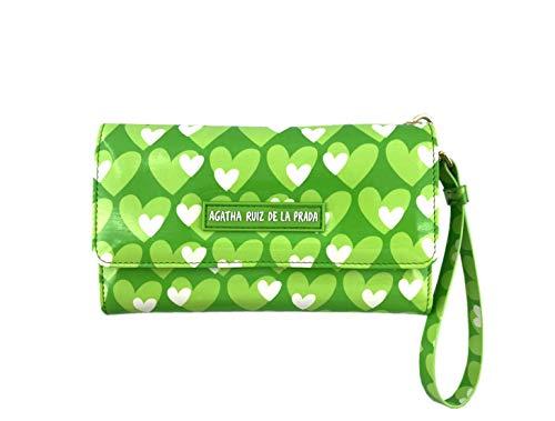 Monedero Cartera Billetero Grande para el movil de Mujer de Cuero Estampado con Corazones Verde Manzana Agatha Ruiz de la Prada