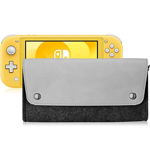 Polaland Funda de Viaje para Switch Lite, Bolsa Blanda de Fieltro Suave de Transporte con 4 Cartuchuos de Juego y Tapa Magnética, Bolso de Tela para Nintendo Switch Lite 2019 –Plomo