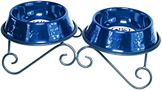 Platinum Pets 3-Cup Scroll Double Diner Stand with Two Bowls, Sapphire Blue