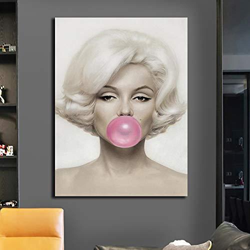 RTCKF Marilyn Monroe Pink Bubble Gum Poster Pintura Impresiones Actrices Famosas Carteles Imágenes de Pared Decoración de Regalo para la Sala de Estar en el hogar A4 60x100CM