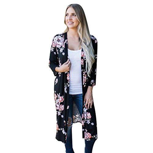 Cárdigan Largo Mujer Impresión Bohemia Kimono Cardigan Abrigo de Playa Tops Oversized Chales Wraps Outerwear Chaqueta de Mujeres Verano Otoño de Talla Grande Casual Blusa