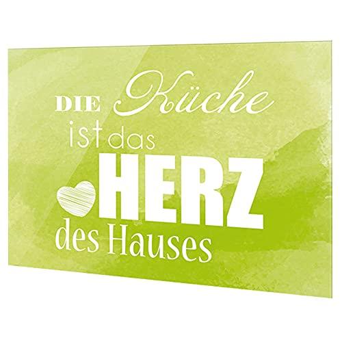 GRAZDesign Fliesenspiegel Küche Spruch, Glasrückwand Küche grün, Küchenrückwand Glas Die Küche ist das Herz des Hauses / 100x60cm