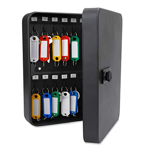 Uniclife 28 Key Cabinet Steel Security Lock Box with Combination Lock-Black