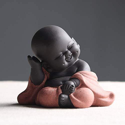 Kleine süße Buddha-Statue, Mönch-Figur, kreatives Baby, Basteln, Puppen, Ornamente, Geschenk, klassisch, chinesisch, zarte Keramik, Kunst und Handwerk, Tee-Zubehör, 7,1 cm hoch (Stil 1)