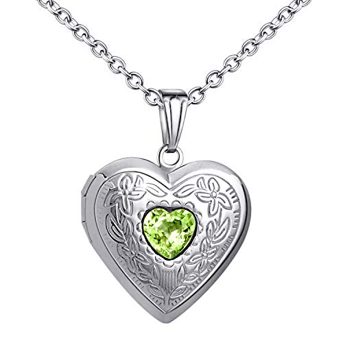 Birthstones Locket Necklace that Holds Pictures Love Heart Photo Locket Crystals Necklace Pendant Birthday Gifts (August)