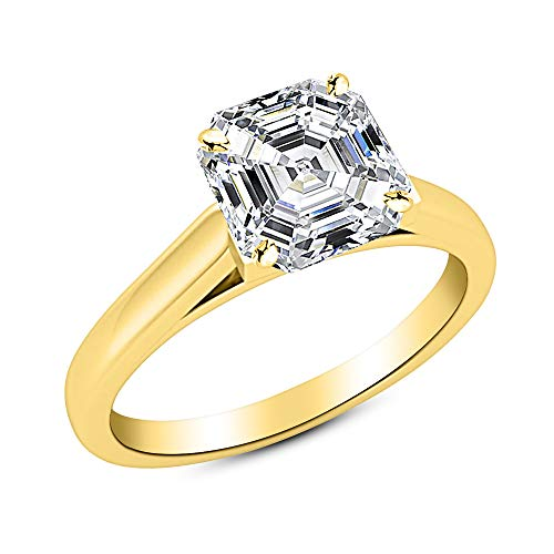 1.71 Ct Asscher Cut Cathedral Solitaire Diamond Engagement Ring 14K Yellow Gold (I Color VS2 Clarity)