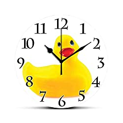 Dadidyc Rubber Duck Silent Wall Clock Yellow Squeak Ducky Toy Fun Bubble Bath Animal Kids Room Duckling Print Desk Clock Round Unique Decorative for Home Bedroom Office 10in