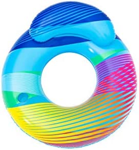 H2OGO 46 Swim Bright Inflatable LED Swim Ring w Backrest Inflatable Pool Float Includes Cup product image