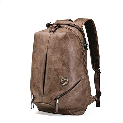 WHSS Outdoor Backpack Khaki PU Leather Backpack Men's Large Capacity Waterproof Travel Bag Youth Computer Bag Outdoor Sports Riding Backpack External USB