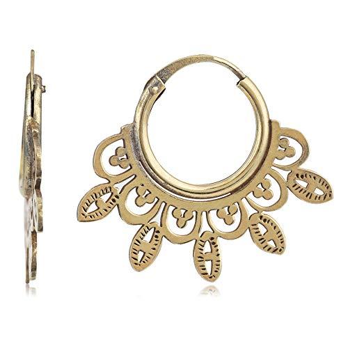 Córdoba Jewels | Pendientes en plata de ley 925 con bañada en oro con diseño Aros Labrados Gold