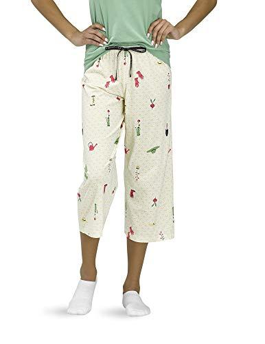 HUE Women's Printed Knit Capri Pajama Sleep Pant, Dusky Citron - Citron Garden, Medium
